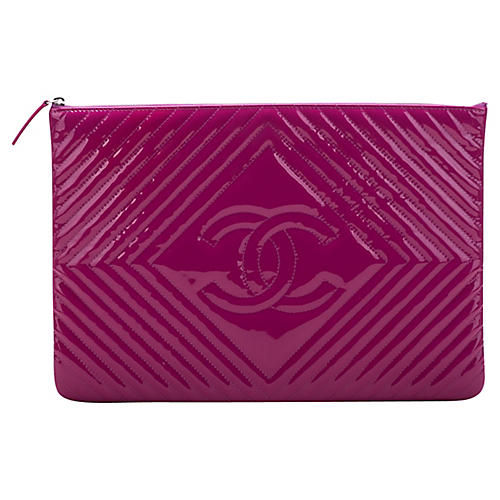 Chanel Large Magenta Patent Clutch