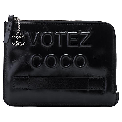 Chanel Votez Coco Black Clutch