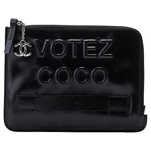 Chanel Votez Coco Black Clutch
