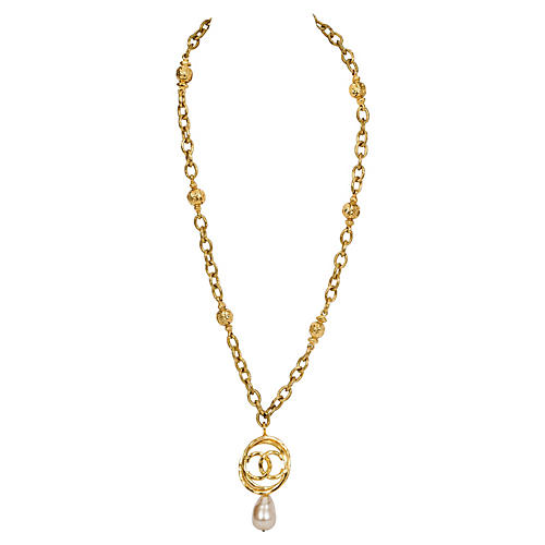 Chanel Faux-Pearl Drop Necklace