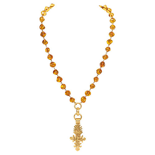 Chanel Amber Gripoix Cross Necklace