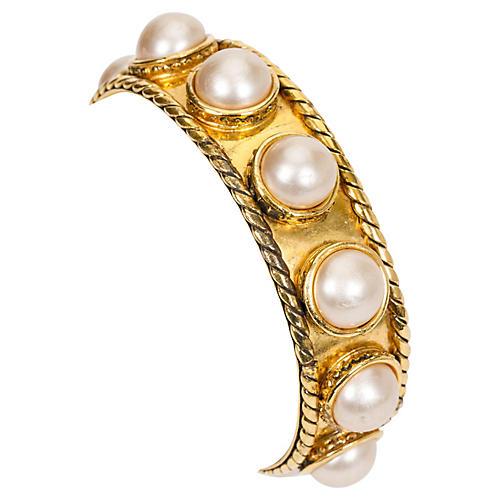 Chanel Faux-Pearl Cuff Bracelet
