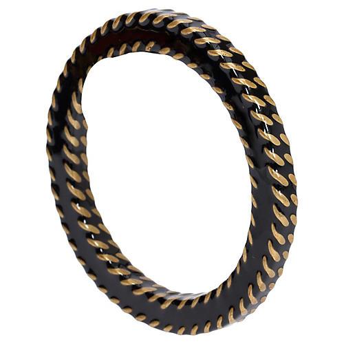Chanel Black & Gold Metal Bangle