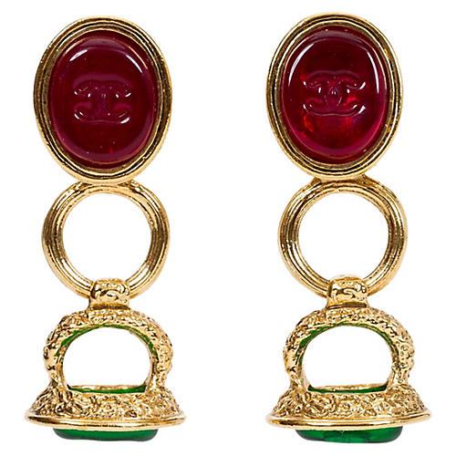 Chanel Red & Green Seal Drop Earrings