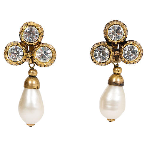 Chanel Crystal & Faux-Pearl Earrings