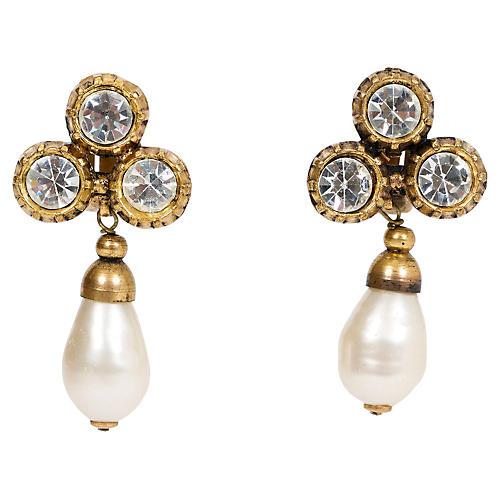 Chanel Crystal & Faux-Pearl Earrings