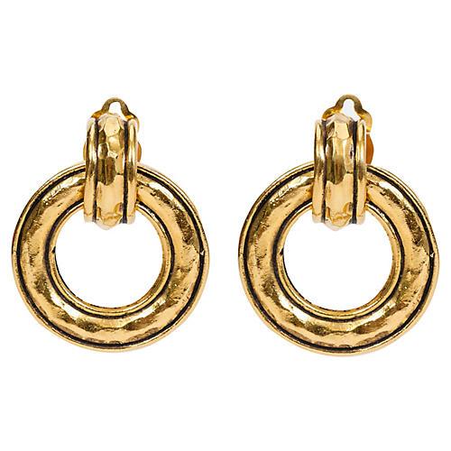 Chanel Hammered Detachable Hoop Earrings
