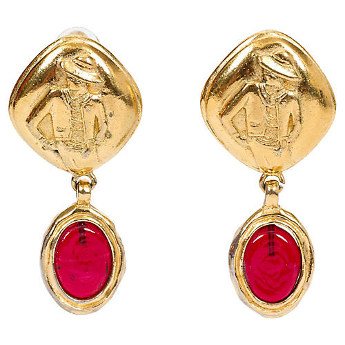 Chanel Red Gripoix Drop Earrings