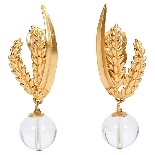 Chanel Wheat & Clear Gripoix Earrings
