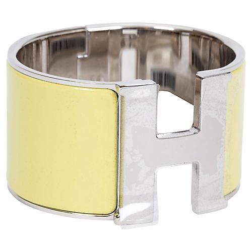 Hermès Extra-Wide Jaune Citrone H Cuff