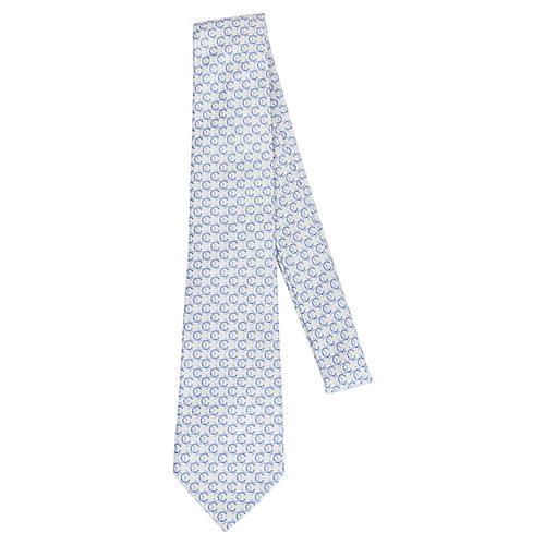 Chanel Beige & Blue Silk Tie