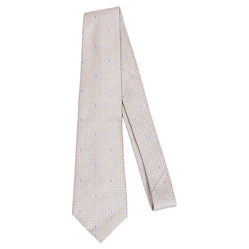 Chanel Beige & Blue Silk Tie