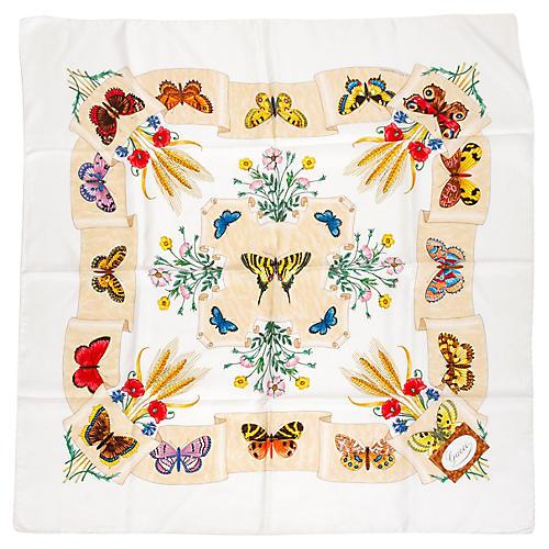 Gucci Silk Twill Butterfly Scarf