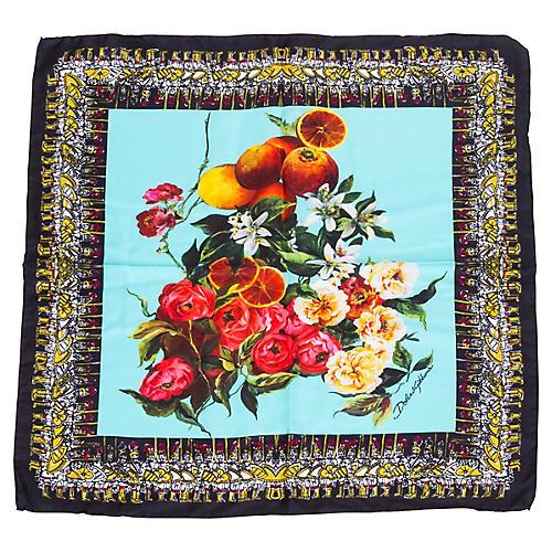 Dolce & Gabbana Silk Floral Fruit Scarf