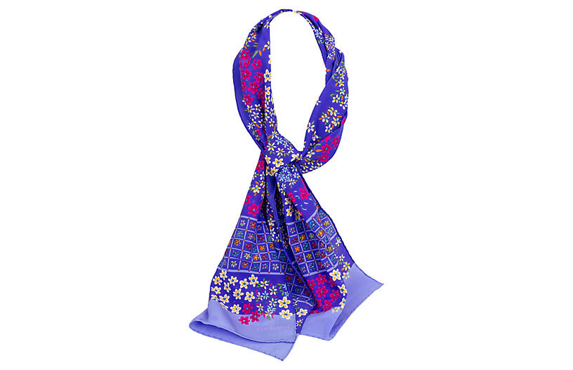 Cacharel Purple Silk Scarf