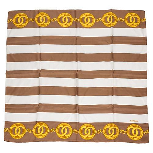 Chanel Striped Silk Scarf