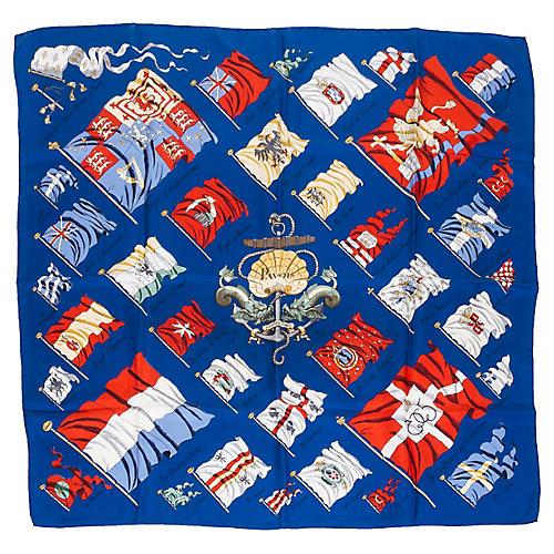 Hermès Navy Pavois Flag Scarf
