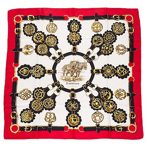 Hermès Silk Cuivereries Horse Scarf