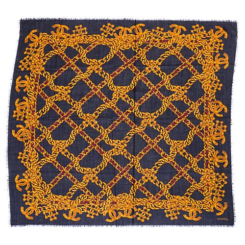 """Chanel 55"""" Wool & Silk Shawl"""