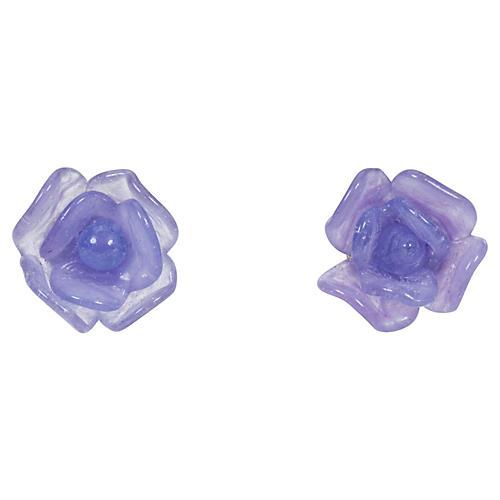 Chanel Purple Glass Post Earrings