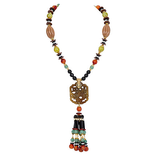 Vrba Asian Stone Tassel Necklace