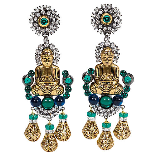 Vrba Emerald Buddha Earrings