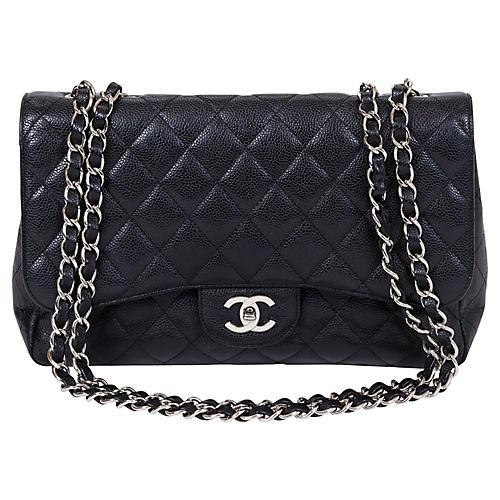 Chanel Black Caviar Jumbo Single Flap