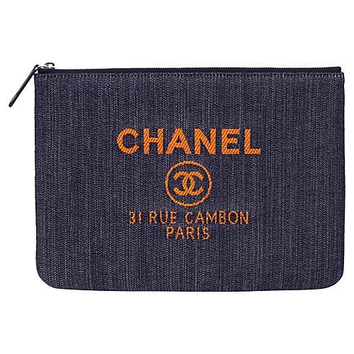 802afc34fe01 Chanel Medium Denim Zipped Clutch. VINTAGEVintage Lux