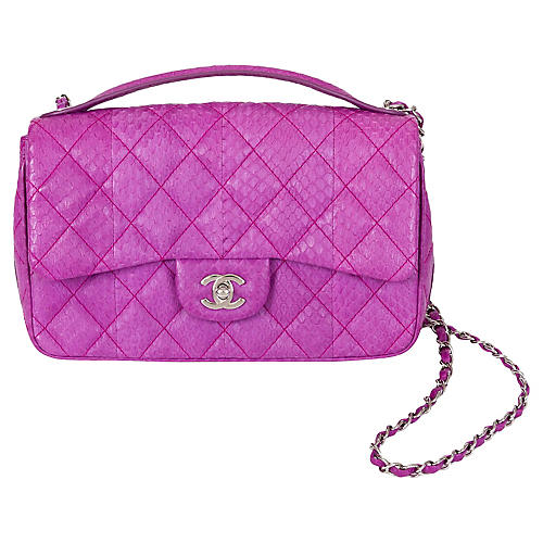 Chanel Purple Python Flap Bag