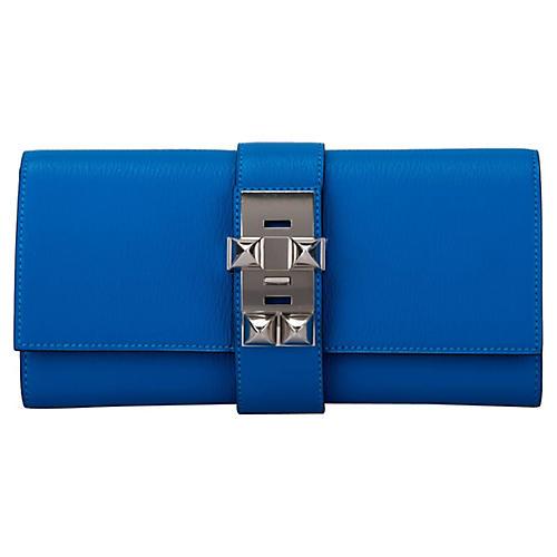 Hermès Blue Zanzibar Chevre Medor Clutch
