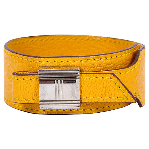 Hermès Yellow Slide Leather Bracelet