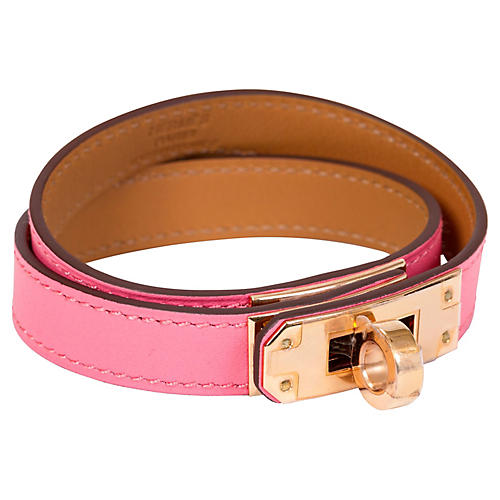 Hermès Rose Azalee Double Kelly Bracelet