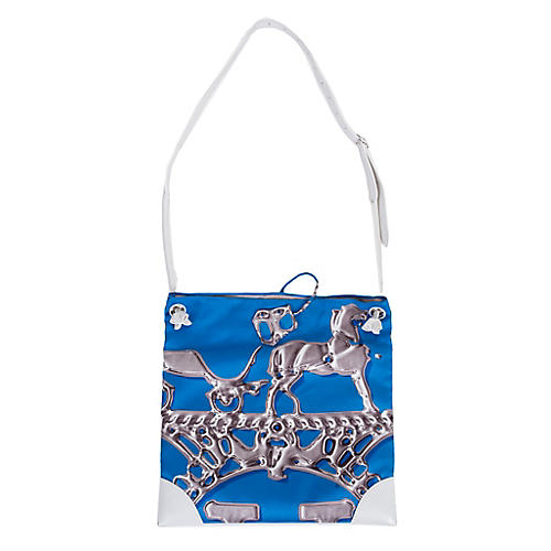 Hermès Blue Silk & White Leather Tote