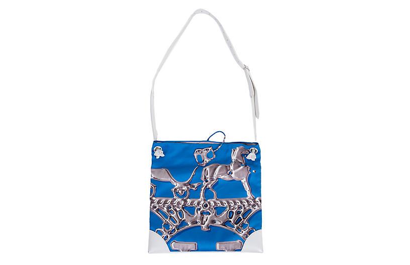 Hermès Blue Silk & White Leather Tote
