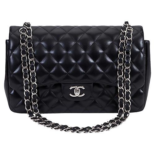 Chanel Black Lambskin Jumbo Double Flap