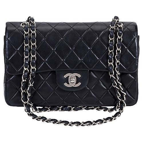 Chanel Black & Silver Double Flap Bag