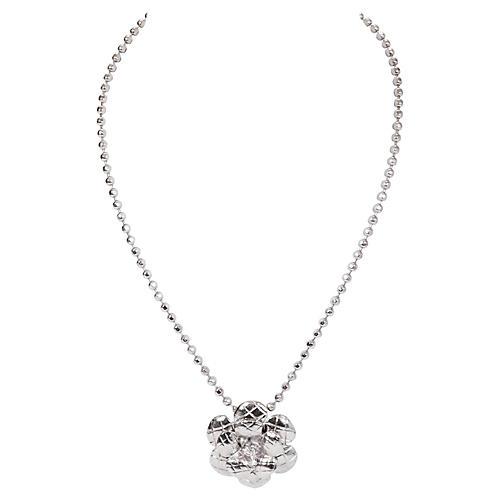 Chanel Silver Camellia Pendant Necklace