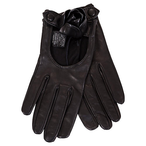 Ferragamo Black Lambskin Rose Gloves