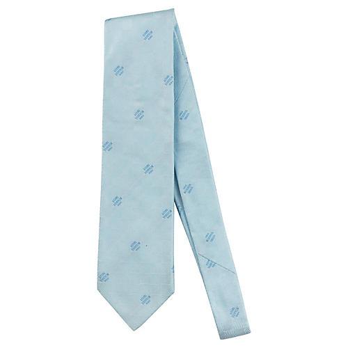 Louis Vuitton Blue Logo Embossed Tie