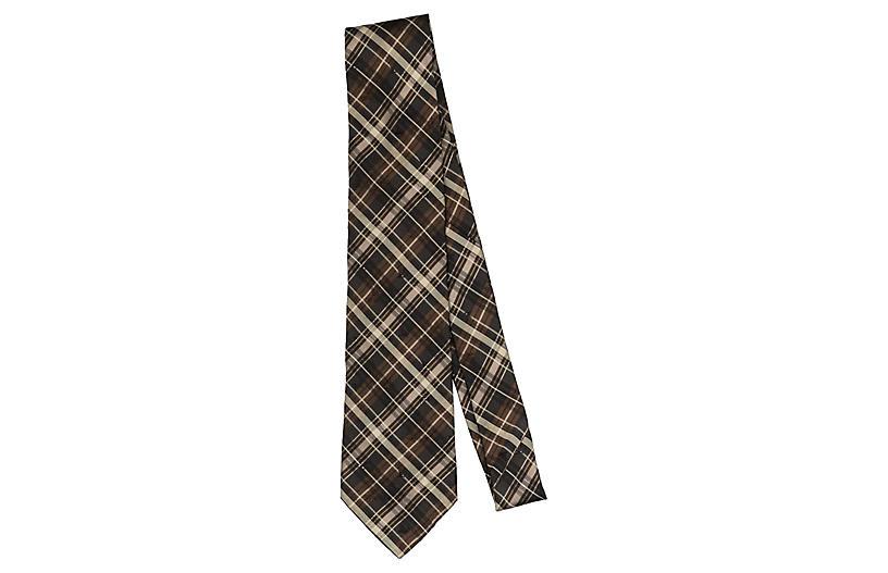 Louis Vuitton Brown Plaid Tie