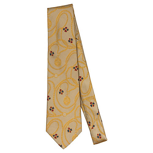 Chanel Gold Chain Gripoix Silk Tie