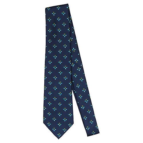 Chanel Navy Clover Silk Tie