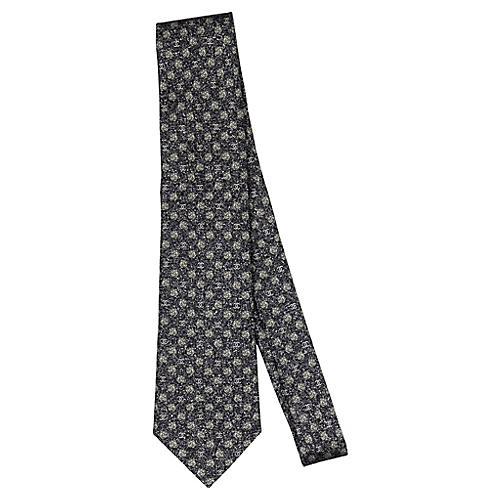 Chanel Black Rosette Silk Tie