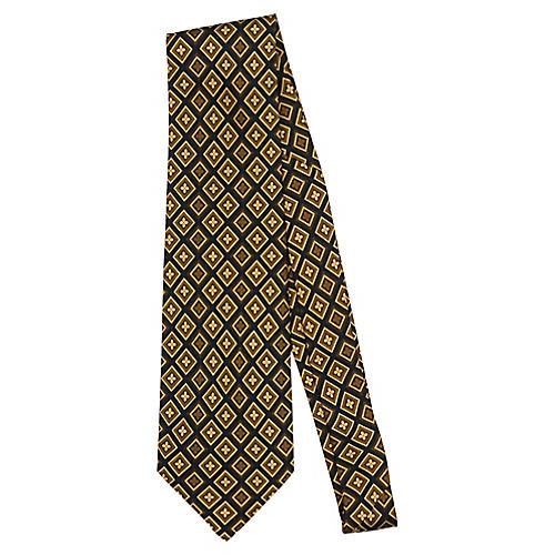 Fendi Gold Geometric Silk Tie