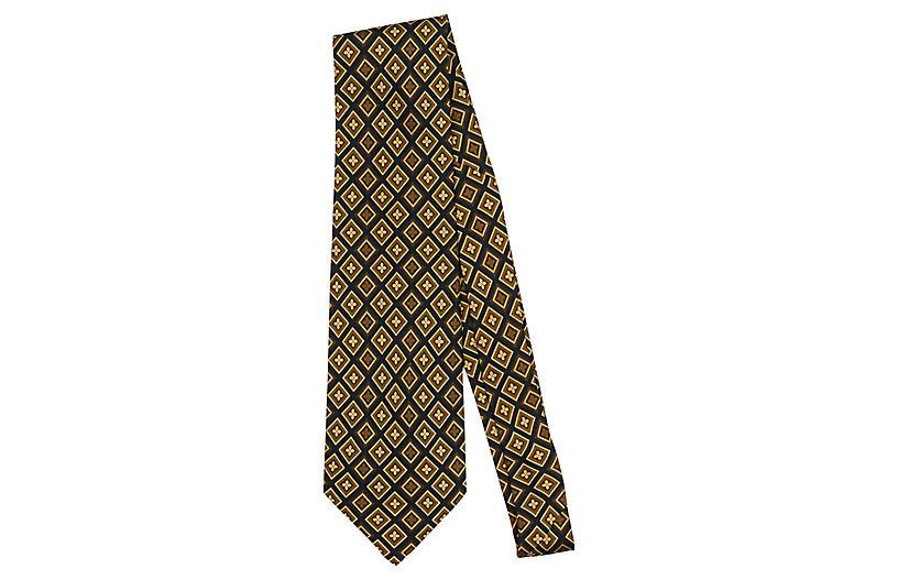 Fendi Gold Geometric Silk Tie