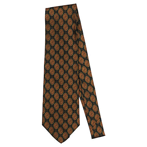 Fendi Black & Rust Silk Print Tie