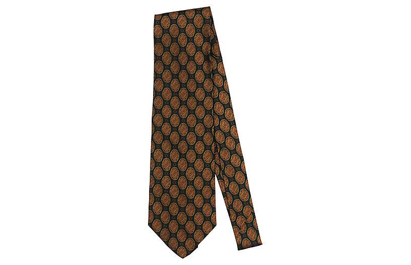 Fendi Black & Rust Silk Print Tie