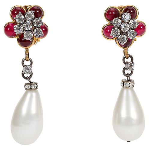 Chanel Purple Flower & Pearl Earrings