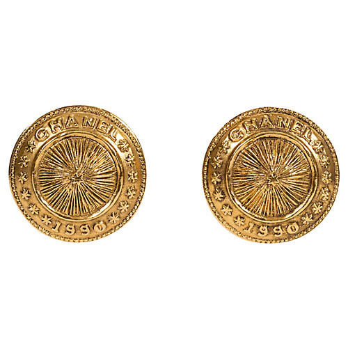 Chanel Coin Clip Earrings, 1990