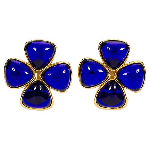 Chanel Blue Gripoix Clover Clip Earrings